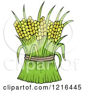 Clipart Of Harvested Wheat Royalty Free Vector Illustration