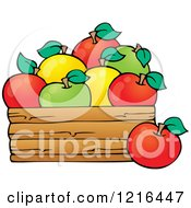 Clipart Of A Bushel Of Red Yellow And Green Apples Royalty Free Vector Illustration
