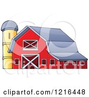 Clipart Of A Red Barn And Silo Royalty Free Vector Illustration by visekart