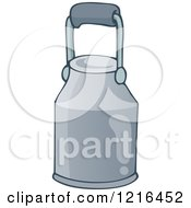 Clipart Of A Metal Milk Jug Royalty Free Vector Illustration