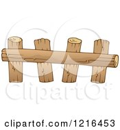 Clipart Of A Log Farm Fence Royalty Free Vector Illustration