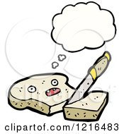 Cartoon Of A Slice Of Bread Thinking Royalty Free Vector Illustration by lineartestpilot