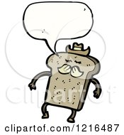 Cartoon Of A Slice Of Cowboy Bread Speaking Royalty Free Vector Illustration by lineartestpilot