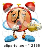 Clay Sculpture Clipart Sleepy Alarm Clock Yawning And Holding Coffee Royalty Free 3d Illustration by Amy Vangsgard