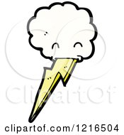 Cartoon Of A Cloud With Lightning Royalty Free Vector Illustration by lineartestpilot