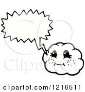 Cartoon Of A Cloud Speaking Royalty Free Vector Illustration