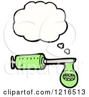 Cartoon Of A Syringe Thinking Royalty Free Vector Illustration by lineartestpilot