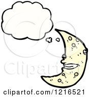 Cartoon Of A Moon Thinking Royalty Free Vector Illustration