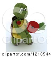 Clipart Of A 3d Tortoise Holding Out A Poppy In Rememberance Royalty Free Illustration by KJ Pargeter