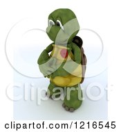 Clipart Of A 3d Tortoise Wearing A Poppy In Rememberance Royalty Free Illustration by KJ Pargeter