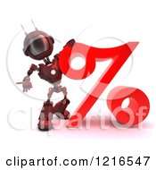 Clipart Of A 3d Red Android Robot With A Giant Percent Symbol Royalty Free Illustration