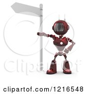 Clipart Of A 3d Red Android Robot Pointing Under A Street Sign Royalty Free Illustration by KJ Pargeter