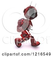 Clipart Of A 3d Red Android Robot Student Walking Royalty Free Illustration by KJ Pargeter
