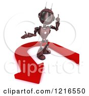 Clipart Of A 3d Red Android Robot Talking By A U Turn Arrow Royalty Free Illustration