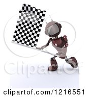 Clipart Of A 3d Red Android Robot Waving A Checkered Racing Flag Royalty Free Illustration by KJ Pargeter