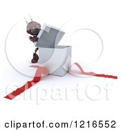 Clipart Of A 3d Red Android Robot Opening A Gift Box Royalty Free Illustration