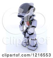 Clipart Of A 3d Robot Wearing A Poppy In Rememberance Royalty Free Illustration by KJ Pargeter
