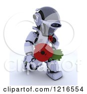 Clipart Of A 3d Robot Holding Out A Poppy In Rememberance Royalty Free Illustration by KJ Pargeter