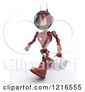 Clipart Of A 3d Red Android Robot Carrying A Shopping Basket Royalty Free Illustration