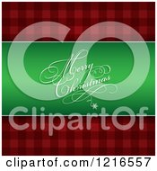 Clipart Of A Merry Christmas Greeting On Green Over Red Plaid Royalty Free Vector Illustration by KJ Pargeter