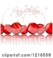 Clipart Of A Merry Christmas Greeting With Stars Over Red Baubles And Reflections Royalty Free Vector Illustration