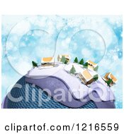 Clipart Of A 3d Christmas Globe With Cardboard Homes And Snowflakes On Blue Royalty Free Illustration