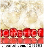 Clipart Of A Row Of Red Christmas Baubles Over Gold With Flares And Snowflakes Royalty Free Illustration