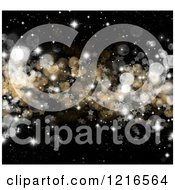 Clipart Of A Christmas Background Of Gold And Silver Bokeh Flares And Stars On Black Royalty Free Illustration