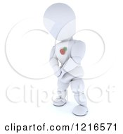 Clipart Of A 3d White Character Wearing A Poppy In Remembrance Royalty Free Illustration by KJ Pargeter
