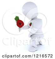 Clipart Of A 3d White Character Holding Out A Poppy In Remembrance Royalty Free Illustration by KJ Pargeter