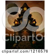 Clipart Of A 3d Spooky Halloween Castle And Moon Over Orange Royalty Free Illustration by KJ Pargeter