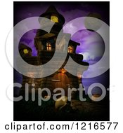 Clipart Of A 3d Spooky Halloween Castle With A Skull And Moon Over Purple Royalty Free Illustration by KJ Pargeter