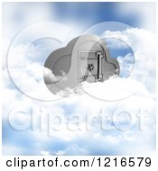 Clipart Of A 3d Secure Cloud Computing Server Storage Safe Royalty Free Illustration