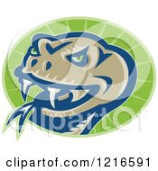 Clipart Of A Viper Snake Head On A Green Oval Royalty Free Vector Illustration