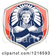 Clipart Of A Retro Native American Chief With A Feather Headdress In A Shield Royalty Free Vector Illustration