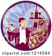 Clipart Of A Retro Waiter Man Holding A Corkscrew And Wine Tray Over Barrels In A Circle Royalty Free Vector Illustration