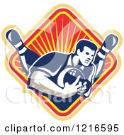 Clipart Of A Retro Man Ten Pin Bowling In A Diamond Of Rays Royalty Free Vector Illustration by patrimonio
