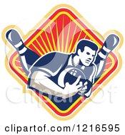 Poster, Art Print Of Retro Man Ten Pin Bowling In A Diamond Of Rays