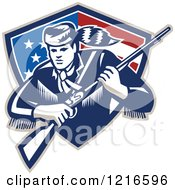 Clipart Of A Retro Woodcut Frontiersman Or Daniel Boone With A Musket In A Patriotic Shield Royalty Free Vector Illustration