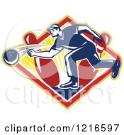 Clipart Of A Retro Man Ten Pin Bowling In A Sunny Diamond Royalty Free Vector Illustration