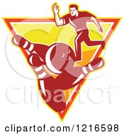 Clipart Of A Retro Man Ten Pin Bowling In An Upside Down Triangle Royalty Free Vector Illustration