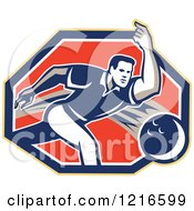 Clipart Of A Retro Man Ten Pin Bowling In A Hexagon Royalty Free Vector Illustration