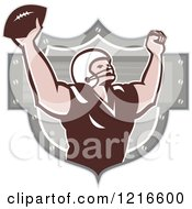 Clipart Of A Gridiron American Football Wide Receiver Cheering After A Touchdown Royalty Free Vector Illustration