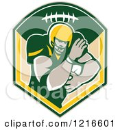 Clipart Of A Gridiron American Football Running Back With A Ball In A Shield Royalty Free Vector Illustration
