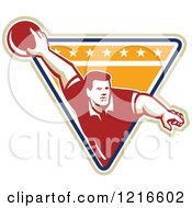 Clipart Of A Retro Man Ten Pin Bowling In A Triangle Royalty Free Vector Illustration