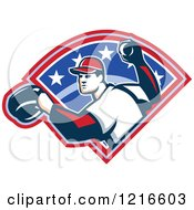 Clipart Of A Retro Baseball Player Throwing Over Stars Royalty Free Vector Illustration