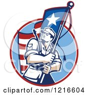 Clipart Of A Retro American Patriot Soldier Carrying A Flag Royalty Free Vector Illustration