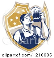 Clipart Of A Retro Bartender Holding Up A Beer Mug Over A Shield Royalty Free Vector Illustration