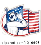 Clipart Of A Retro Soldier Saluting In An Oval With An American Flag Royalty Free Vector Illustration by patrimonio