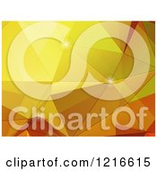 Clipart Of A Golden Polygon Geometric Background With Flares Royalty Free Vector Illustration